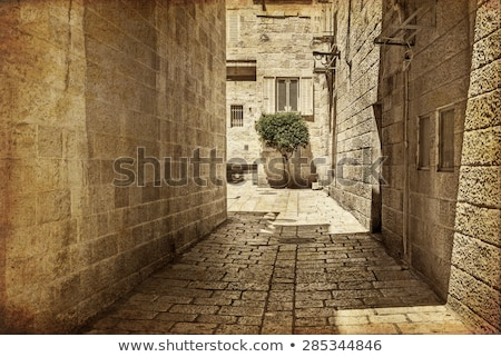 Ancient Alley in Jewish Quarter, Jerusalem. .Photo in old color image style. Stock photo © Zhukow