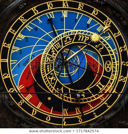 Zdjęcia stock: Front · widoku · szczegół · Praha · astronomiczny · zegar