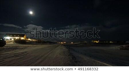 лунный свет Исландия деревне облака снега Сток-фото © suerob