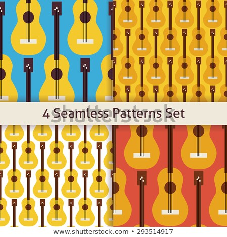 Four Vector Flat Seamless Music Instrument Rock Guitar Patterns  Stock photo © Anna_leni