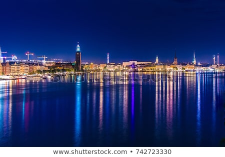 Stockholm at night with light reflection in water Stock photo © master1305