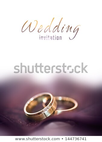golden wedding ring with big diamond Stock photo © AptTone