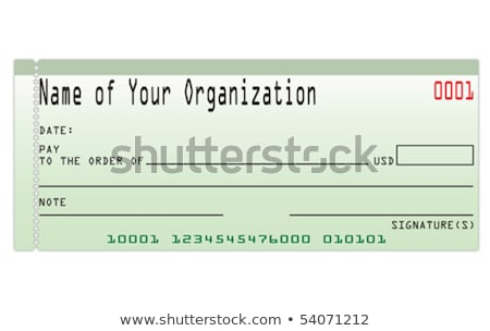 Blank Green Check Money Payment Bank Account Copy Space Stock photo © iqoncept