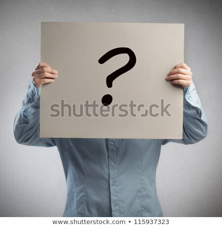 Man cover face with question board stock photo © fuzzbones0
