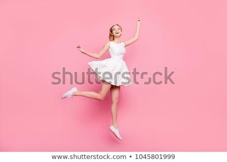 mulher · vestir · quadro · branco · sensual · jovem - foto stock © dolgachov