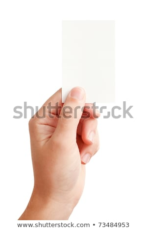 Humans arm with vertical blank card Stock photo © cherezoff