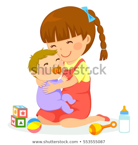 Brother and sister in hug with love and big happy smile.  Stock photo © ajfilgud