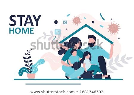 Familia atención protección amor símbolo icono Foto stock © Ggs