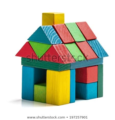 drie · hout · speelgoed · huizen · onderwijs · Blauw - stockfoto © kitch