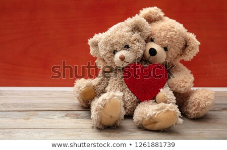 teddy bears couple with red heart valentines day concept stock photo © master1305