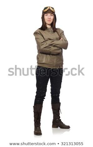 Engraçado mulher piloto isolado branco cara Foto stock © Elnur