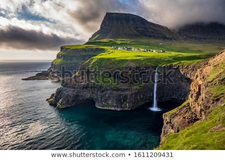 風景 島々 典型的な 緑の草 羊 岩 ストックフォト © Arrxxx