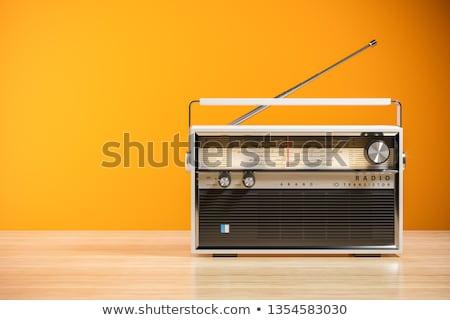 öreg rádió kivágás fából készült apparátus izolált Stock fotó © Suljo