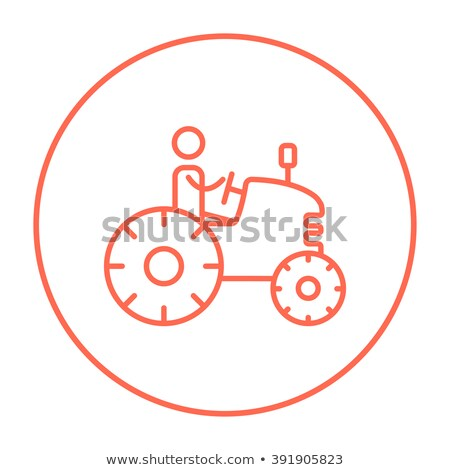 ストックフォト: 男 · 運転 · トラクター · 行 · アイコン · コーナー