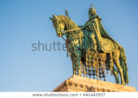 saint stefan statue in budapest hungary in sunrise stock photo © kayco