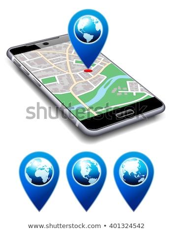 Hier telefoon kaart icon cel smart Stockfoto © fenton