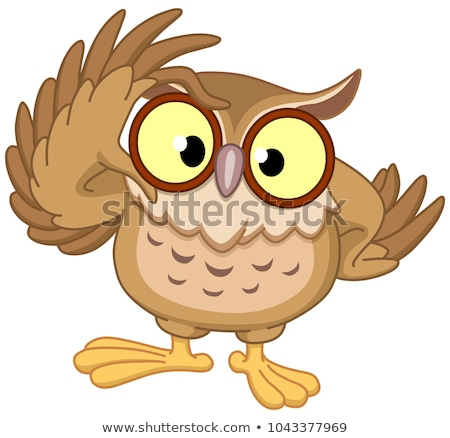 Bilge baykuş İngilizce beyaz kalp Stok fotoğraf © bluering