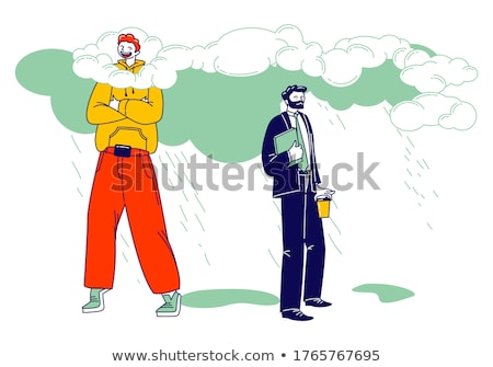 Vector illustration of clouds covering human heads Stock photo © adrian_n