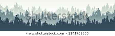 Stock photo: beauty pine tree silhouette with mountain background