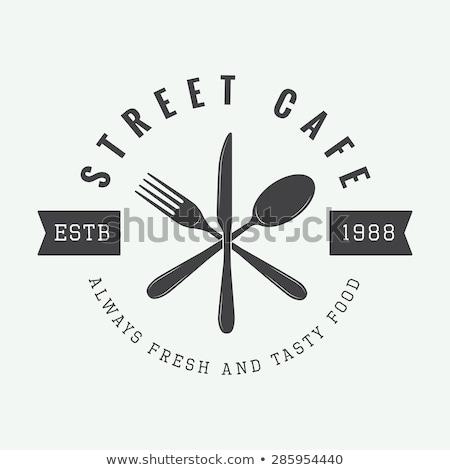 Gabel Messer Menü Tabelle Holztisch Metall Stock foto © fuzzbones0