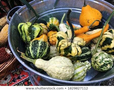 colorful ornamental autumn gourds centerpiece stock photo © ozgur