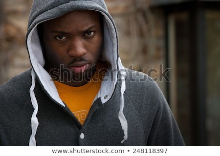 Angry black man face. Stock photo © Kurhan