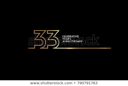 Rocznicy uroczystości odznakę etykiety złoty kolor Zdjęcia stock © SArts