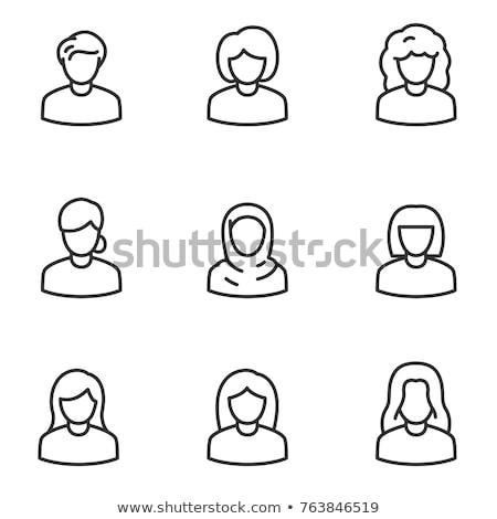 silhueta · mulher · secretário · computador · ilustração · negócio - foto stock © sdcrea