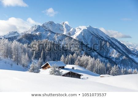 sí · kunyhó · Alpok · napos · tél · hegyek - stock fotó © kb-photodesign