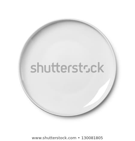 Foto stock: Profundo · branco · prato · limpar · prato · vazio