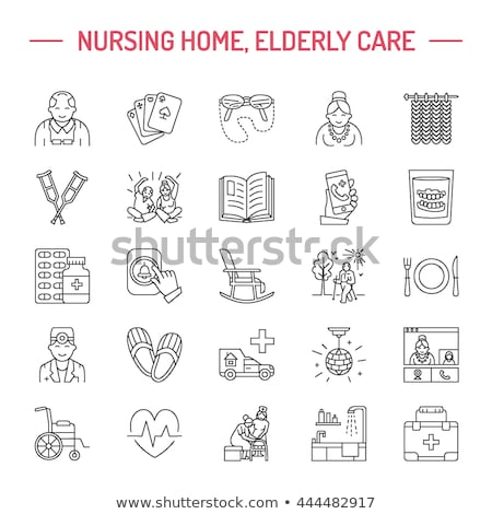 Vector line icon of senior and elderly care. Nursing home - old people, wheelchair, leisure, hospita stock photo © Nadiinko
