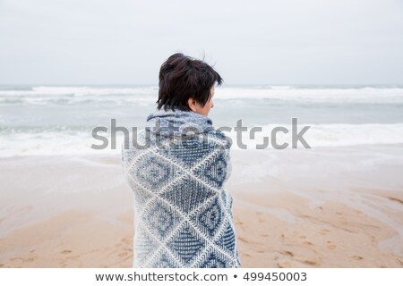Сток-фото: Beautiful Lady Looking At The Storm On The Occean