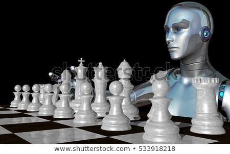 Femenino robot jugando blanco piezas de ajedrez 3D Foto stock © ankarb