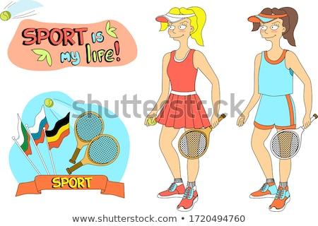 Belo quadra de tênis papel de parede sensual moda Foto stock © carodi
