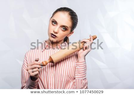 slager · vrouw · gesneden · ham · werk · glas - stockfoto © fisher