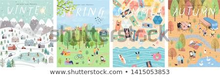 Gyermek négy évszak illusztráció tavasz fű tenger Stock fotó © adrenalina