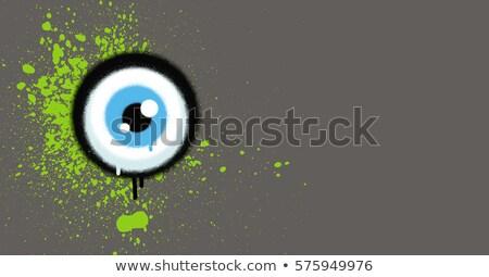 Grafite globo ocular verde pintar grunge cinza Foto stock © Melvin07