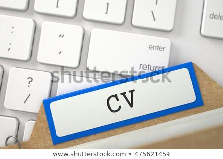 Kártya felirat cv 3D renderelt kép kék Stock fotó © tashatuvango