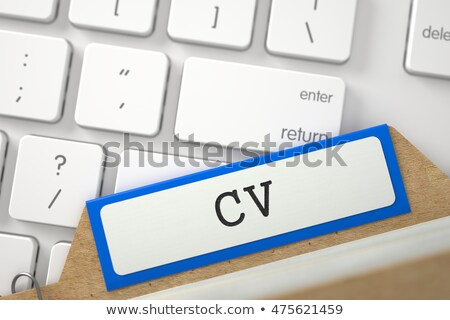 index card with inscription cv 3d rendering stock photo © tashatuvango