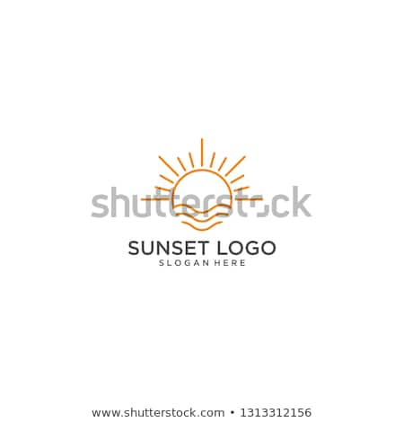 Stock photo: blue waves and sun logo symbol icon vector design