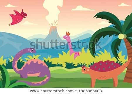 Mountain scene with many animals Stock photo © bluering