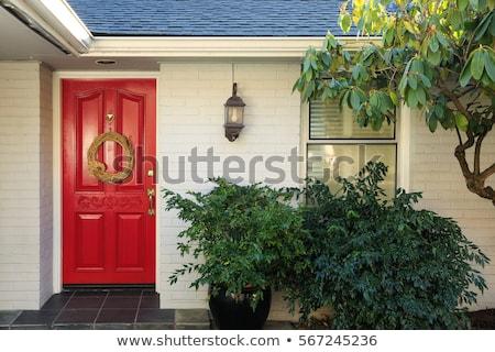 red door in stone building stock photo © artjazz