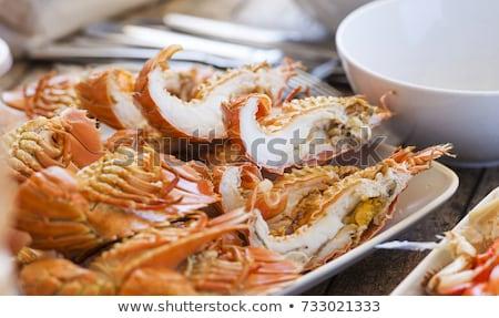 homár · faszén · grill · vacsora · tányér · barbecue - stock fotó © thp