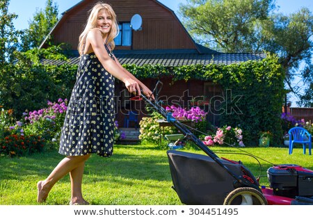Woman mowing lawn in the sun stock photo © IS2