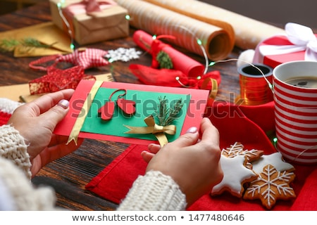 Stock photo: Handmade Christmas composition on wooden background.