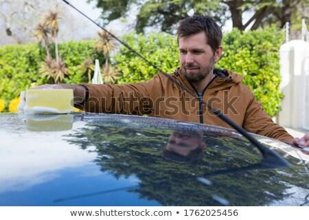Autó szolgáltatás személyzet mosás autó tető Stock fotó © wavebreak_media