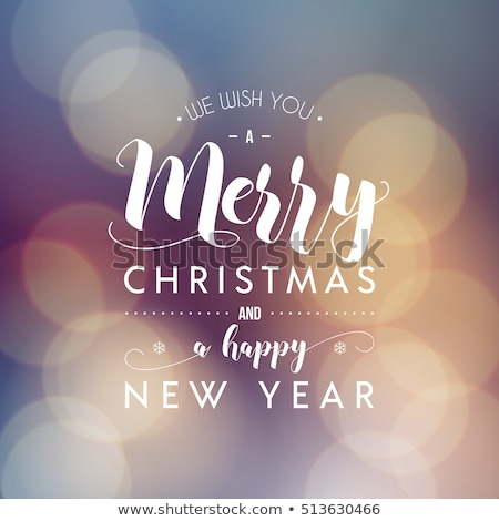 Stock photo: Vector Merry Christmas Illustration on Shiny Snowflake Background with Typography and Holiday Light