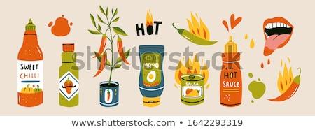 Chile verde salsa botella ilustración Cartoon Foto stock © benchart