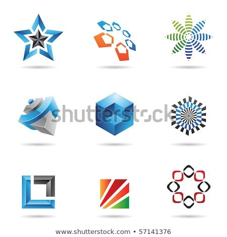 symbol hexagonal icons set on abstract orange background stock photo © ekzarkho