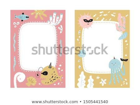 Keret sablon aranyos állatok illusztráció természet háttér Stock fotó © bluering